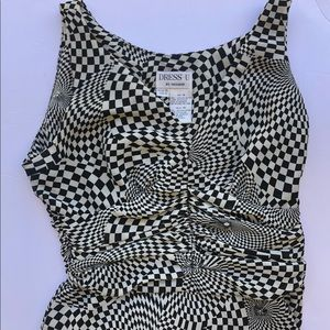 Women unique dress size 14 print checkered dress